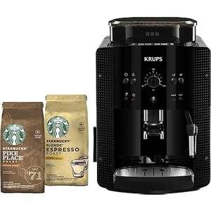 Machine expresso avec broyeur Krups YY4540FD (Noir) + 2 paquets de café en grains Starbucks