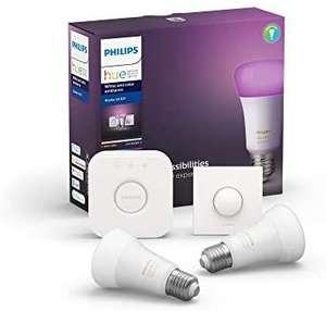 Kit de démarrage Philips Hue - 2 Ampoules LED Connectées White & Color Ambiance E27 + Pont + télécommande Smart Button