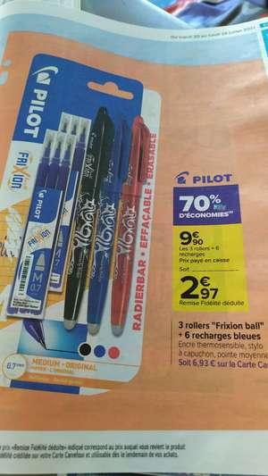 Paquet de 3 stylos rollers Pilot Frixion + 6 recharges bleues (via 6.93€ sur le compte fidélité)