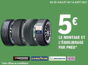 Montage et équilibrage à 5€/pneu sur les marques Hankook, Goodyear, Michelin et Nexen