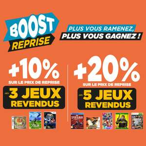 +10% sur le prix de reprise pour 3 jeux revendus et + 20% pour 5 jeux