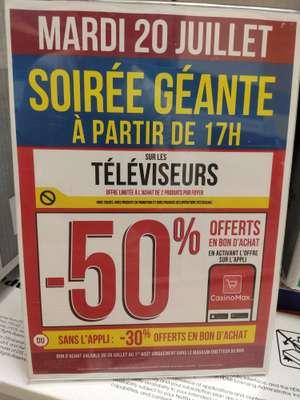 50% en bon d'achat sur les télévisions (hors exceptions - via l'Application CasinoMax) - Océanis Saint Nazaire (44)