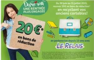 2 bons de réduction de 10€ valable dès 50€ d'achats sur les fournitures scolaires pour la reprise d'un ancien Cartable