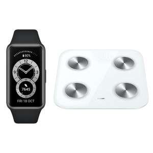 Balance connectée Huawei Scale 3 (blanc) + bracelet connecté Huawei Band 6 (noir)
