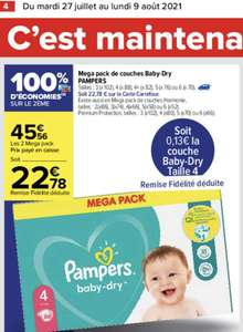 Lot de 2 paquets de couches Pampers Baby-Dry Mega Pack - différentes tailles et quantités (via 22.78€ sur la carte de fidélité)