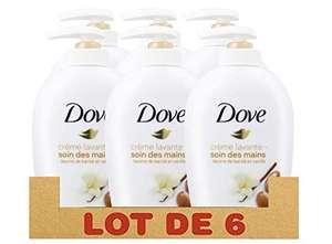 Lot de 6 crèmes lavantes Dove Soin des Mains Savon Lavant Antibactérien Beurre de Karité & Vanille (6x250ml)