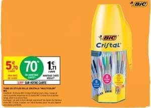 Tubo de 20 stylos bille Bic Cristal Multicolor (Via 3.99 sur Carte Fidélité)