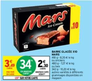 Boite de 10 Barres glacées Mars ou Snikers et Twix (Via 1.19€ sur Carte Fidélité)