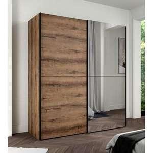 Armoire 2 portes coulissantes avec miroir - Décor chêne - 170,3 x P 61,2 x H 190,5 cm