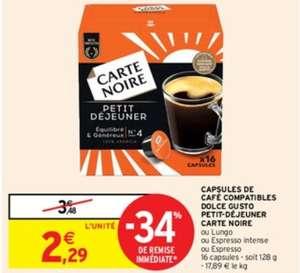 Boite de 16 Capsules Carte Noire compatible Dolce Gusto - Différentes variétés (via BDR)