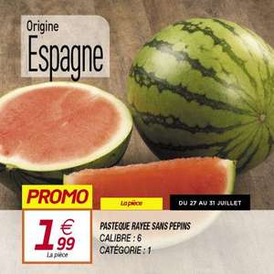 Pastèque sans pépins Catégorie 1 Origine Espagne