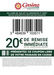 Coupon de 20€ de réduction dès 80€ de courses