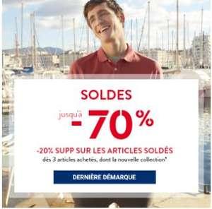 JULES : 20% de réduction supplémentaire dès 3 articles soldés achetés