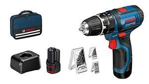 Perceuse-visseuse à percussion sans fil Bosch Professional GSB 12V-15 - 2 batteries 2Ah + chargeur + 3 jeu de forets + Sacoche