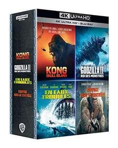 Coffret 4 films en Blu-ray 4K UHD - En eaux troubles + Godzilla II : Roi des Monstres + Kong: Skull Island + Rampage : Hors de contrôle