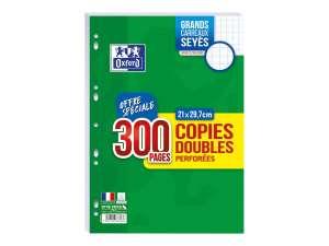 Paquet de 300 copies doubles A4 Oxford - grands carreaux (Seyes), perforées