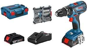 Perceuse-Visseuse à percussion Brushless Bosch GSB18V-28 + 2 batteries 2 Ah + chargeur + Lboxx + 35 accessoires (Reconditionné - Comme neuf)