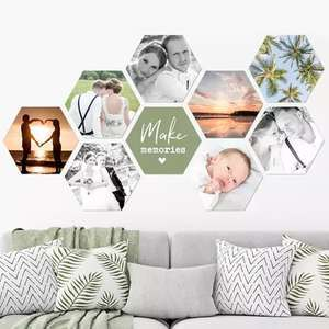 Sélection de Photos sur Hexagone, Carré, Cercle à partir de 3,63€ - 5 dimensions (17x15 cm à 37x32 cm) + Livraison gratuite