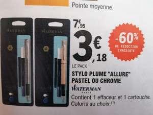 Pack Stylo plume Waterman Allure Pastel ou Chrome + Effaceur + Cartouche