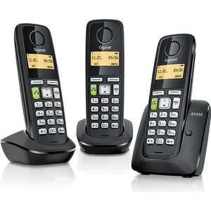 Pack de 3 téléphones fixes Gigaset Trio AS350 - Noir