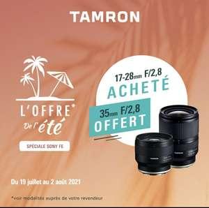 Objectif photo Tamron F053 35 mm F/2,8 offert pour l'achat d'un 17-28 mm en monture Sony FE (via ODR)