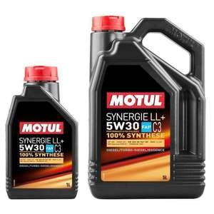 Huile moteur Motul Synergie LL+ 5W30 - 6 Litres (5L + 1L) Diesel et Essence ACEA C3 LL+