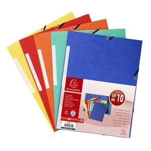 [25€ d'achat minimum] Lot de 10 chemises Exacompta 3 rabats carte lustrée A4 (via 1.58€ sur la carte)