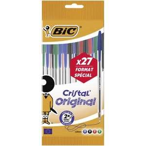 """[25€ d'achat minimum] Lot de 27 Stylos bille BIC """"cristal"""" x27 offerts (via 1.90€ sur la carte)"""
