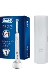 Brosse à dents électrique rechargeable Oral-B Pro 2 2500 - Manche avec Capteur de Pression Visible, 1 Brossette, 1 Étui de Voyage