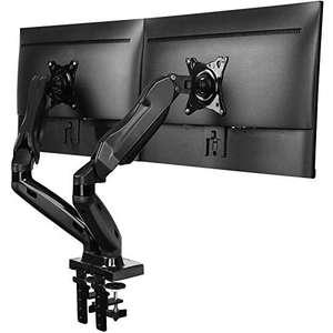"""Support pour 2 écrans PC de 13 à 27"""" Huanuo - vérin à gaz, rotation 360° (vendeur tiers)"""