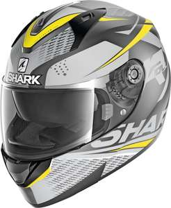 Casque de moto intégral Shark Ridill 1.2 Stratom (taille M, gris/jaune) + cagoule