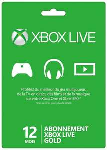 Abonnement Xbox Live Gold 12 mois - Compte Français / Europe (Dématérialisé)