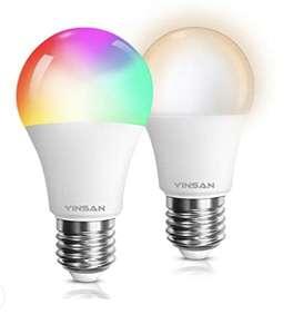 Lot de 2 ampoules LED connectées Yisan - E27, 9W compatibles avec Alexa , Google Home (Vendeur tiers)