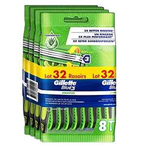 Lot de 32 rasoirs jetables Gillette Blue 3 Sensitive Bande Lubrastrip Comfortgel pour Peaux Sensibles, avec Tête Pivotante À 40°
