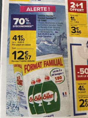 Lot de 3 Bidons de Lessive liquide Le Chat Format Familial (Via 28.33€ sur Carte Fidélité)