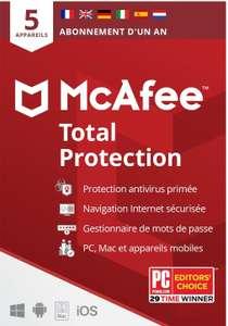Licence Antivirus Total Protection Mcafee 2021 - 5 appareils / 1 An sur PC / Mac & Smartphones (Dématérialisée)
