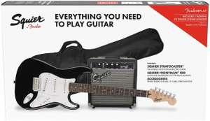 Guitare électrique Fender Squier Stratocaster Pack IL avec amplificateur Fender Frontman 10G - Noir, avec sangle, câble, médiators et housse