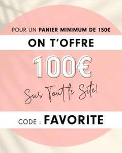 100€ de réduction dès 150€ d'achat sur tout le site + livraison gratuite