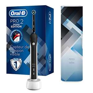 Brosse à dents électrique rechargeable Oral-B Pro 2 2500 - 1 Manche Avec Capteur De Pression Visible, 1 Brossette, 1 Étui de Voyage
