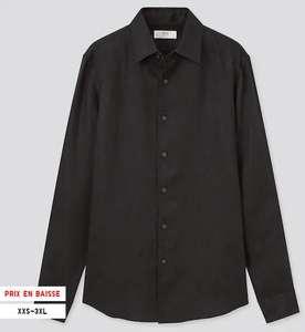 Chemise Homme 100% lin Uniqlo - Tailles XXS à XL, noir