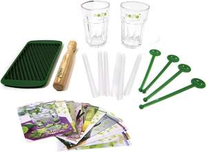 Coffret Mojito Pick & Drink - 2 verres 30 cl, 1 pilon en bois, 1 moule à glace pilée en silicone, 6 pailles, 4 touilleurs