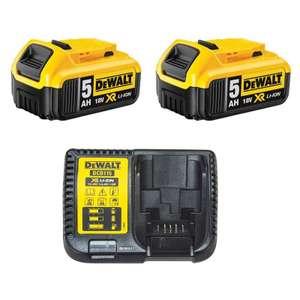 Pack de 2 batteries DeWalt XR DCB184 (18V) - 2x5 Ah + chargeur