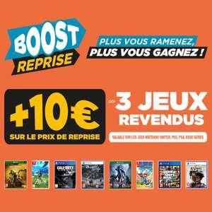 10€ de remise supplémentaire pour la reprise de 3 jeux parmi une sélection & repris minimum 7€ chacun