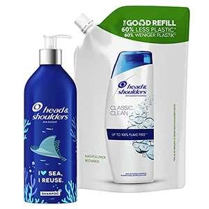 Shampoing Classic Head & Shoulders - Antipelliculaire, Kit Bouteille Rechargeable Écologique et sans Plastique + 1 Recharge, 910ml
