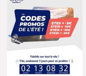 20€ de réduction dès 200€, 15€ dès 150€, 10€ dès 100€, 5€ dès 50€ d'achat sur tout le site