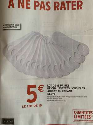 Lot de 15 paires de socquettes adultes ou enfant Eldys - Noir ou Blanc