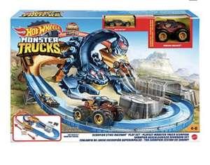 Coffret 2-en-1 Hot Wheels Monster Trucks GNB05 : Circuit de course Scorpion Géant + Petite voiture & Véhicule aux roues géantes