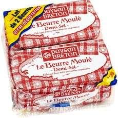 Lot de 2 Plaquettes de Beurre Moulé Paysan Breton (2x 250g)