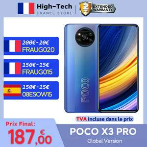 "Smartphone 6.67"" Poco X3 Pro - 8 Go de Ram, 256 Go, Snapdragon 860 (213€ avec le code FRSEP20)"