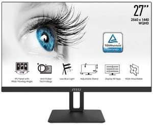 "Écran PC 27"" MSI Pro MP271QP - WQHD, LED IPS, 60 Hz, 5 ms, Anti-Flicker Technology, Pied réglable"